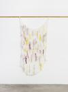 Astrid Svangren. In original violet/ Influenced transparent/ Feeling emerald/ Affected by honey yellow/ Worker bee/ Under influence of chestnut red/ Singing pastel dust, 2017. Fabric, water colour and japanese silk paper. 180 x 83 cm