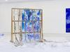 amongst all sorts of colours, venus hair and a day of thirst, a sleeping jellyfish, it is the memory place, 2015-2016. Linseed, shells and corals, acrylic, acrylic paste, oak, cellophane, colored plexiglass. 180 x 176 cm