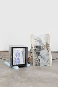 I'm_too_sad_to_tell_you.fla, 2015. Video loop, mixed media installation, wood, concrete, drywall, UV-print on laser-cut plexi, Blu-ray player, cables and monitor. Variable dimensions