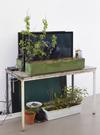 Untitled, 2015. 3 Videos, HD, 4:50, 5:40, 1:10 min, plants, flower boxes, copper, latex, silicone, RFID-tag, strings, etc. 345 x 70 x 80 cm