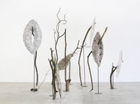 Trees, 2014. Papier-mâché, wood sticks and metal stands. Variable dimensions