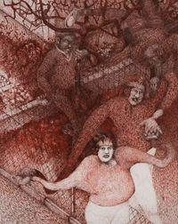 Untitled (Im Umgang mit Gleichaltrigen), 2017. Ink and pencil on paper. 33 cm x 22 cm