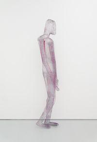 Figure Appuyée, 2018. Metal, paint, paper. 230 × 63 × 25 cm