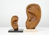 Lina Viste Grønli. Janus Ear, 2013. Pine and oil on marble base. 18 x 17,5 x 15 cm. Big Ear, 2013. Pine and oil on marble base. 33 x 17,5 x 15 cm