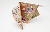 Thinging III, 2013. Copper and stickers. 25 x 35 x 19 cm