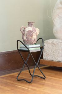 Untitled, 2017. Chalk and egg tempera on glazed stoneware, gift shop books and visitors stool (courtesy of The Vigeland Museum). 100 x 50 x 30 cm