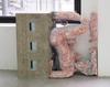 Reclining figure, 2016. Red iron dioxide and charcoal on glazed stoneware, fiber-reinforced concrete, steel, pine and handles. 98,7 x 121 x 37,5 cm