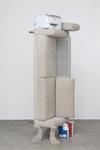 Feeding grounds, 2017. Sofa, printer, A4 paper/packing, and sand-cast concrete. 266 x 86 x 50 cm