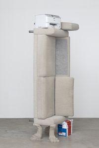 Feeding grounds, 2017. Sofa, printer, A4 paper/packing, and sand-cast concrete. 266 x 86 x 50 cm