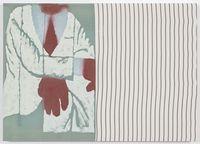 Boulevard broker, 2017. Acrylic on cotton and found fabric. 50 x 70 cm