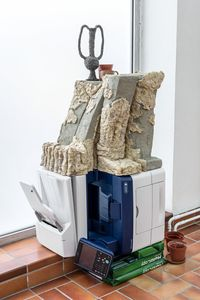 chacmool brawl n claw, 2017. Xerox WorkCentre 6655, glazed stoneware and concrete, copy paper (A3, A4), plastic pots, ceramic cup and stoneware vase. 132 x 70 x 63 cm