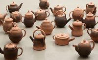 Terraform 1-20, 2013. Bisque fired red clay and various teas. Various sizes