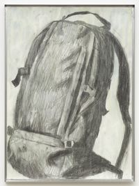 Backpack, 2014. Charcoal and gouache on papir, metal frame. 77,2 x 57,2 cm