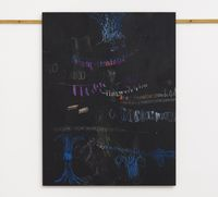 In original violet/ influenced transparent/ feeling emerald/ affected by honey yellow/ worker bee/ under influence of chestnut red/ singing pastel dust, 2017. Blackboard chalk and acrylic on MDF. 122 x 94 cm