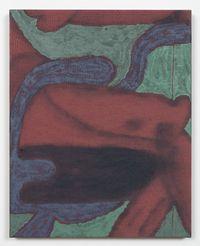 Seated figure (drywall, green), 2016. Acrylic on found fabric. 51 x 41 cm