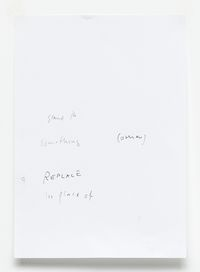 Untitled text (like notes), 2013 (detail). Mixed media on paper, plexiglass case. 88 x 72 x 8 cm