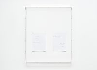 Untitled text (like notes), 2012. Mixed media on paper, Plexiglas case. 88 x 72 x 8 cm