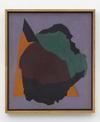 Tom Humphreys. Purple, black, brown, green and orange, 2016. Acrylic on linen, wood, glass. 74.80 x 64.60 cm