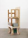 Carl Mannov. Feeding grounds, 2018. Modified chair, pine, plywood, A4 paper/packing, printer, and lye-treated Douglas fir. 137 x 64 cm
