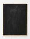 Julia Haller. Untitled, 2014. Bone glue, chalk, ferric oxide, gesso on linen, laser engraving on glass, oakframe. 72 x 53 cm