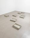 Rolf Nowotny, How Can I Sleep, 2013. Beer, cow dung, moss and youghurt on concrete. 8 pieces. Each 15 x 64 x 42 cm