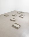 Rolf Nowotny, How Can I Sleep, 2013. Beer, cow dung, moss and youghurt on concrete. 8 pieces. Each 15 x 64 x 42 cm. How can I sleep, 2013. Christian Andersen, Copenhagen