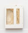 Patricia L. Boyd. Absorption, Elimination II: Aeron Back Support (CCA Wattis, 10/12/17-02/24/18), 2017. Used restaurant grease, wax, damar resin, plywood, particle board. 96.5 x 77 x 15.5 cm