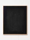 Julia Haller. Untitled, 2014. Bone glue, chalk, ferric oxide, gesso on linen, laser engraving on glass, oakframe. 59 x 50 cm. Passion, 2014. Christian Andersen, Copenhagen