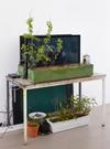 Hans-Christian Lotz. Untitled, 2015. 3 Videos, HD, 4:50, 5:40, 1:10 min, plants, flower boxes, copper, latex, silicone, RFID-tag, strings, etc. 345 x 70 x 80 cm. Hans-Christian Lotz, 2015. Christian Andersen, Copenhagen