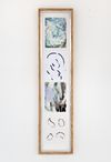 Tom Humphreys. Untitled, 2011. Gouache, watercolour, mixed media on paper mounted on gesso primed board in artists frame (wood, aluminium, glass, screws). 141,5 x 33,5 cm. Straight Man's Camp, 2012. Christian Andersen, Copenhagen