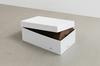 Marie Lund. Veneer, 2012. Carved wooden figure, shoe box. 19 x 17 x 30 cm. End On, 2012. Christian Andersen, Copenhagen