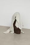 Marie Lund. Veneer, 2012. Carved wooden figure, silk shirt. Height 60 cm. End On, 2012. Christian Andersen, Copenhagen