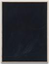 Julia Haller. Untitled, 2015.  Bone glue, chalk, ferric oxide, gesso on linen, laser engraving on glass, oak frame. 66 x 51 cm. Liste, Basel, 2015. Christian Andersen, Copenhagen