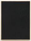 Julia Haller. Untitled, 2015. Bone glue, chalk, ferric oxide, gesso on linen, laser engraving on glass, oak frame. 75 x 56 cm. Liste, Basel, 2015. Christian Andersen, Copenhagen