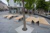 Lina Viste Grønli. Benkene til Kim, 2021. Granite, heart pine. 47 cm x 300 cm x 1100 cm. Vågsallmenningen, Bergen