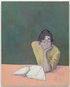 Li Ran. What to write & How to write, 2021. Oil on canvas. 101 x 80 cm. June Art Fair, Basel, 2021. Christian Andersen, Copenhagen