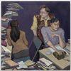 Li Ran. Editor's Desk, 2021. Oil on canvas. 120 x 120 cm. June Art Fair, Basel, 2021. Christian Andersen, Copenhagen