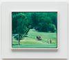 Damon Sfetsios. Soccer Field (Abode), 2017. Oil on linen, artist's frame. 24 x 30 cm unframed. 38 x 44 cm framed. Frieze Focus, London. Christian Andersen, Copenhagen